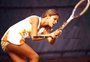 Chris Evert Playing at the U.S. Open Tennis Tournament ca. 1972 Flushing Meadows, New York, USA