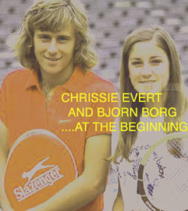 Portrait of Swedish tennis great Bjorn Borg (left) and American tennis great Chris Evert holding a wooden tennis racket early in their tennis careers. ca. 1970s