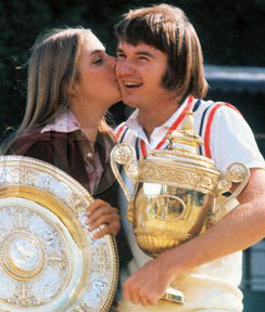 Original caption: Chris Evert defeated Russia's Olga Morozova, 6-0, 6-4, to win the women's singles title, and Jimmy Connors blasted Ken Rosewall of Australia, 6-1, 6-1, 6-4, to cop the men's crown--giving America the top prizes in the Wimbledon tennis championships. Chris and Jimmy, shown with their trophies after Connors' victory 7/6, plan to wed on Ft. Lauderdale, FL in the Fall. July 6, 1974 Wimbledon, England, UK