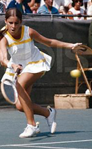Original caption: Cleveland Heights, Ohio. Chris Evert of Ft. Lauderdale, FL, shown in action against Evonne Goolagong of Australia in women's singles of the Bonne Bell Cup Matches at Harold T. Clark Stadium here July 30th. Miss Evert won: 6-3, 4-6, 6-0. July 30, 1972 Cleveland Heights, Ohio, USA