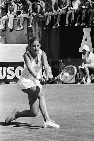 Original caption: ROME: America's Chris Evert concentrates on her forehand shot 6/2 in her finals match against Martina Navratilova of Czechoslovakia at the Rome Open Tennis tournament. The 19-year-old star from Fort Lauderdale Florida, won, 6-3, 6-3 to take the women's singles title. Rome, Italy